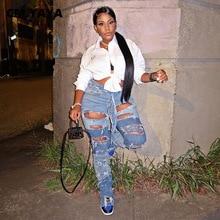 CM.YAYA femmes découpées trou lavé Patchwork déchiré jean droit pour Streetwear élégant pantalon en jean