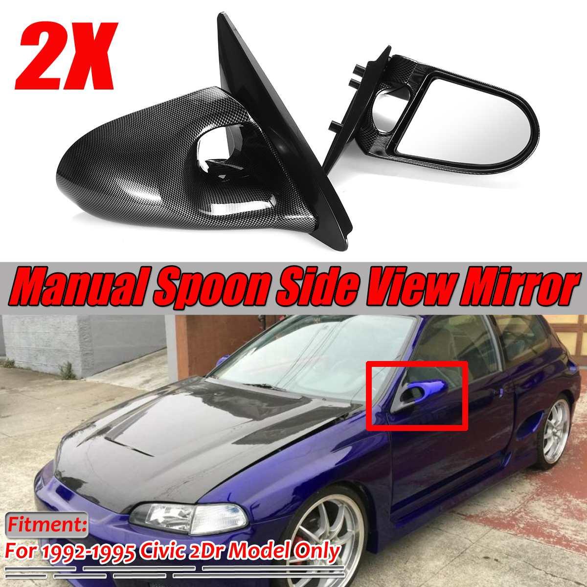 Um par de ajustamento manual de porta de carro, asa, visão traseira, espelho lateral para honda civic eg 2dr 1992-1995 fibra de carbono olhar/preto