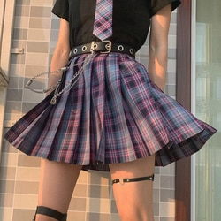 Saia mulher saias y2k gótico harajuku roxo plissado xadrez verão de cintura alta harajuku bonito sexy mini a-line nova kawaii