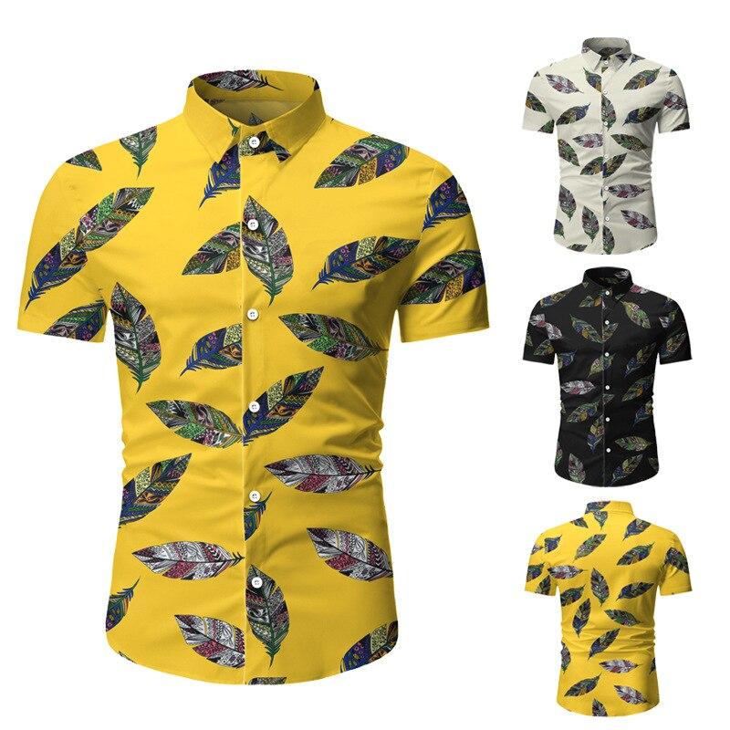 الرجال قصيرة الأكمام قميص بدوره أسفل طوق سترة قميص الشاطئ مع طباعة عادية سليم نوع واحد الصدر القمم