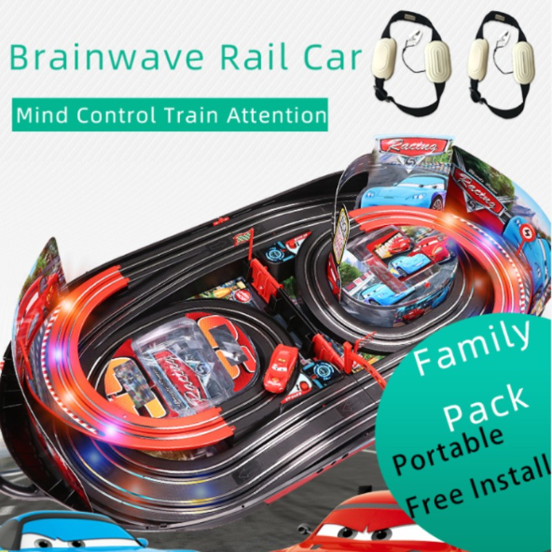 Brainwave Neurosky EEG mind control railway double track racing car attention EEG feedback track toy Concentration training недорого