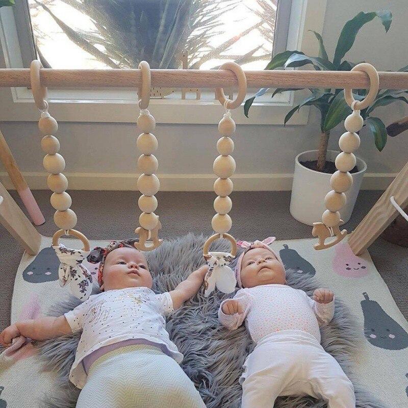 Crianças Baby Nursery Room Decor Guirlanda de Madeira do Grânulo Natural Nórdico Pendurado Decoração Da Parede Cama Tenda Mat Baby Shower Bunting Ornamento 3 PCS