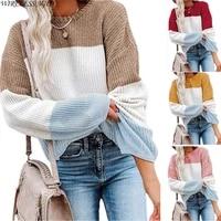 women sweater round neck knitwear lantern sleeve stripe color contrast commuter womens pullover tops spring autumn fashion wild