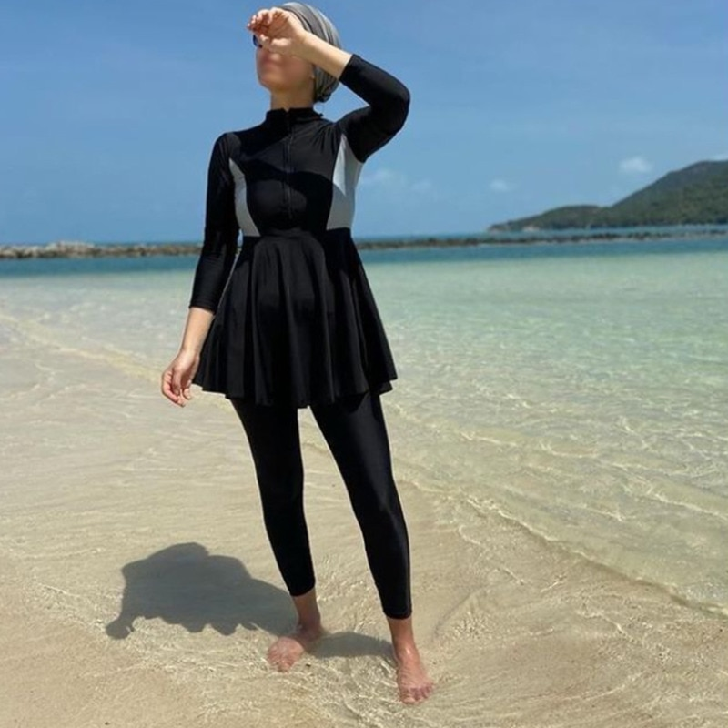 لباس سباحة أسود لبوركيني موضة مسلمة ملابس سباحة نسائية كم طويل عربي تركيا باكستاني إسلامي ملابس سباحة حريمي