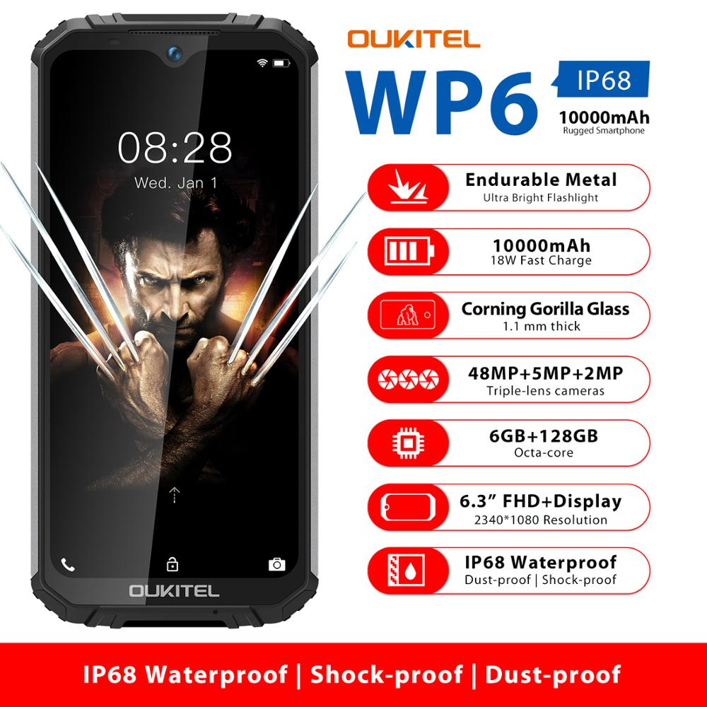 هاتف ذكي OUKITEL WP6 6.3 بوصة IP68 متين مقاوم للماء هاتف ذكي MT6771T 6GB 128GB ثماني النواة 48 ميجابكسل ثلاثي كاميرات هاتف خلوي 10000mAh
