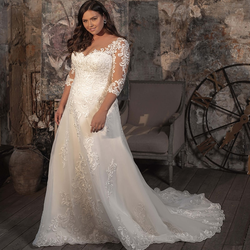 Promo Luxury Wedding Dress Embroidered Lace Boat Neck Ball Gowns Sleevelesswith Appliques Sashes Vestido De Noiva Plus Size Button