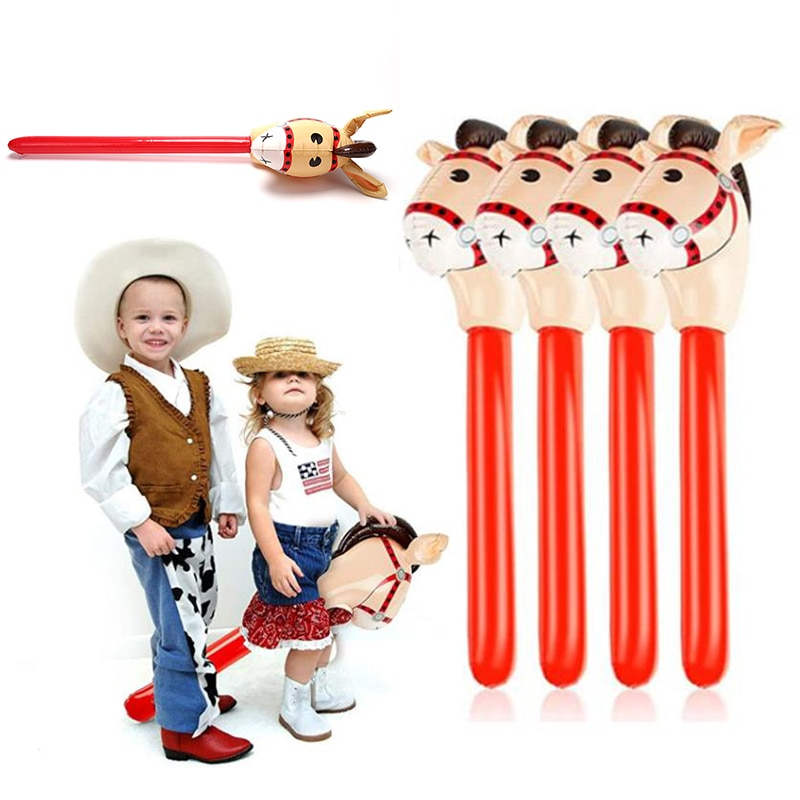 Inflatable Horse Heads Cowgirl Stick PVC Balloon Outdoor Educational Toys for Birthday Gifts 1Pc