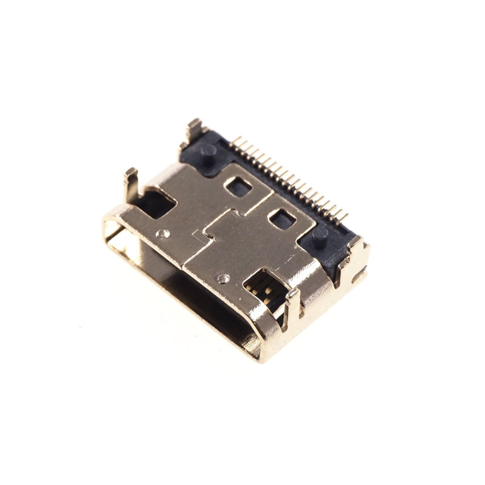 10pcs Mini HDMI-compatible Female Connector SMD 19 pin Reflow Solderable Right Angle Surface Mound PCB Rohs Receptacle