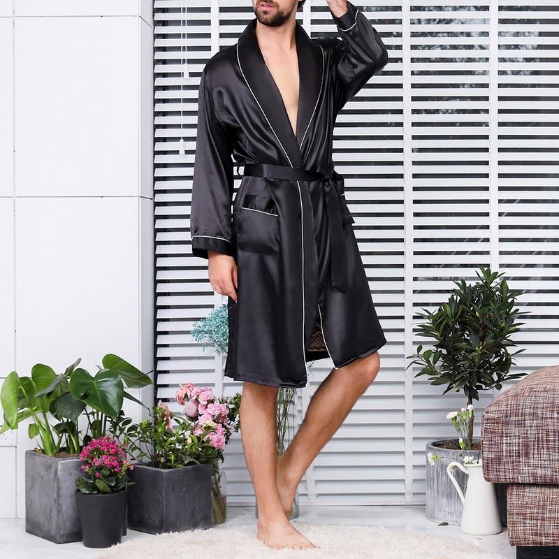 WENYUJH 2020 New Men Black Lounge Sleepwear Faux Silk Nightwear Comfort Silky Bathrobes Noble Dressi