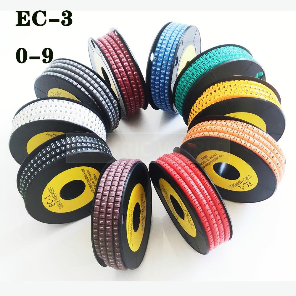 معلِّم الكابلات مرقمة EC-3 3000 قطعة سلك علامة رقم 0 إلى 9 حجم الكابل 6sqmm أصفر ملون كابل بولي كلوريد فينيل معلِّم الكابلات s العزل علامة