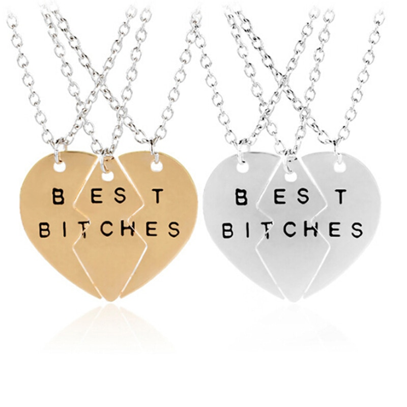 Новые модные золотые подвески в форме разбитого сердца, 3 части, лучшие украшения для женщин, лучший подарок для друзей