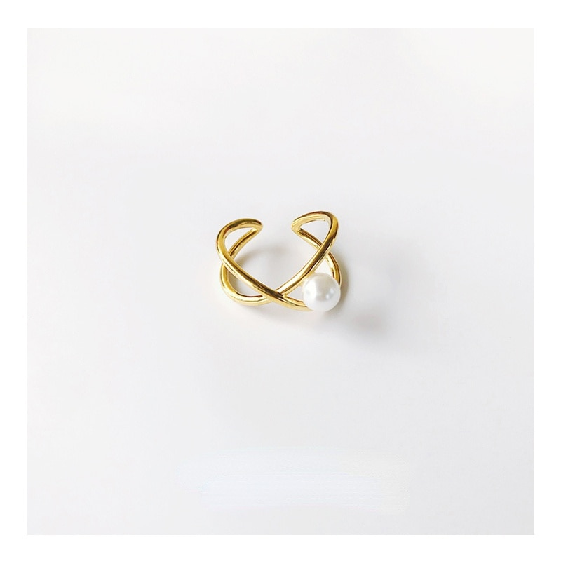 Ymh Shell Memory Special-Interest Design Cross Line Open-End Pearl Ring Abstract Line Designer Ring for Women Light