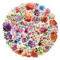 50pcs colorful rose flowers stickers for stationery notebooks flower pink sticker scrapbooking aesthetic scrapbook supplies