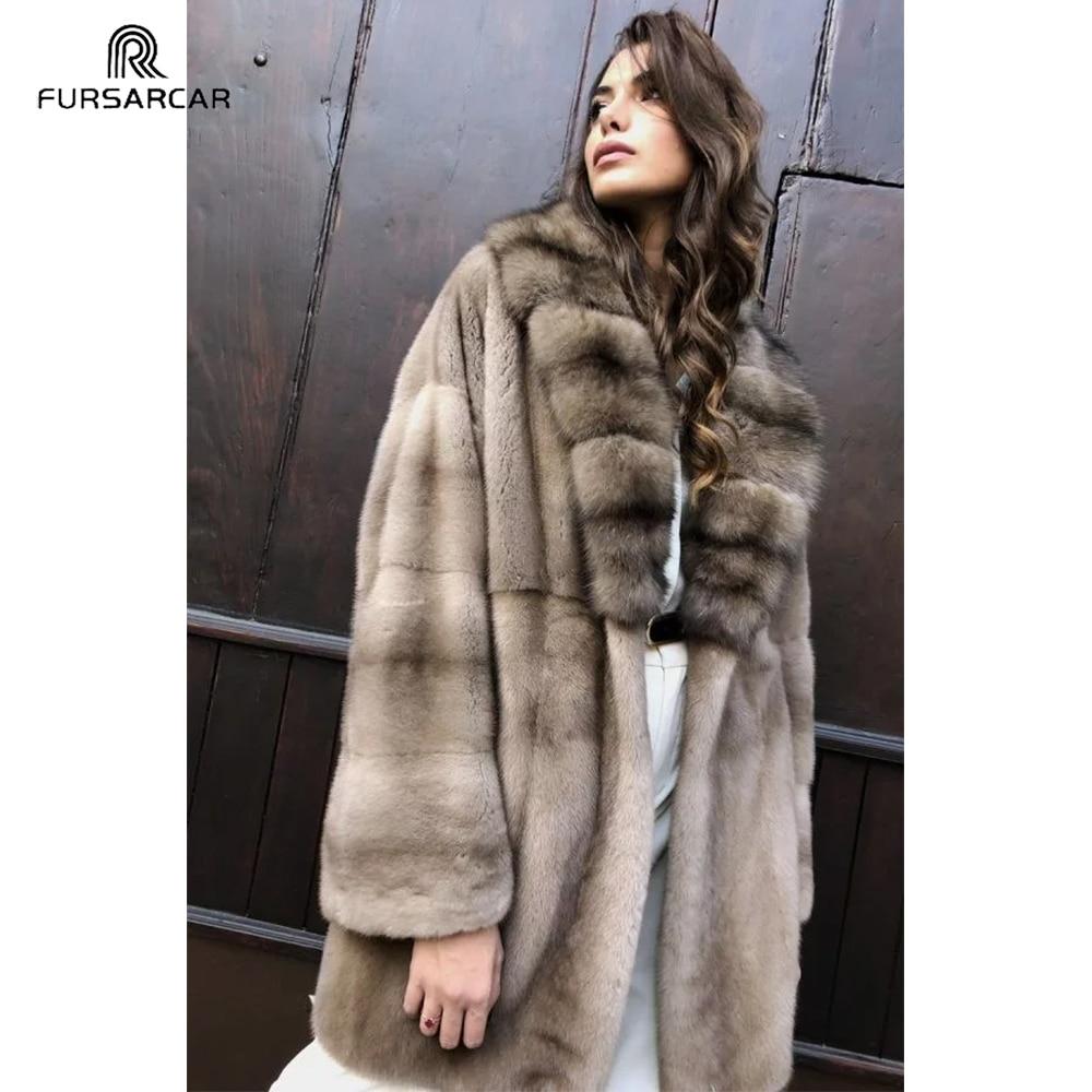 FURSARCAR معطف فرو منك حقيقي طبيعي مع شريط سميك الفراء طوق المرأة الشتاء عالية الشارع سترة معاطف فرو منك الحقيقي