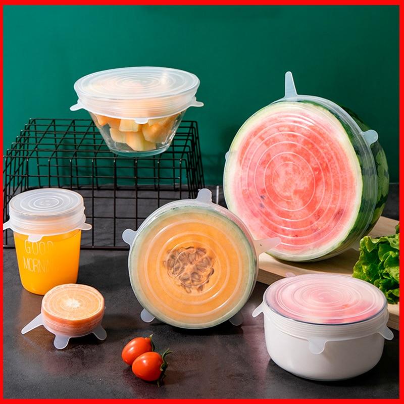 Крышка из пищевого силикона, крышка для сохранения свежести, кухонные аксессуары, герметичная крышка для чаши, кухонные крышки для сохранен...