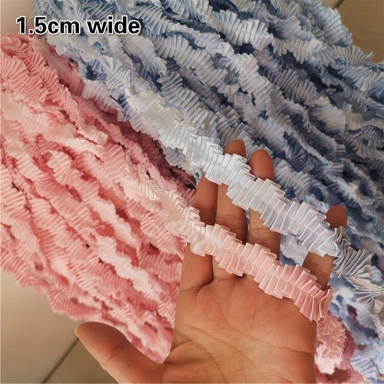 Атласная ткань органные мятые волнистые кружева DIY Одежда головной убор шляпа сумка домашний текстиль многоцелевой ленты розовый небесно-г...