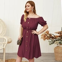 off shoulder loose oversize red midi dress women casual basic party dress lady short sleeve plus size office summer dresses 4xl