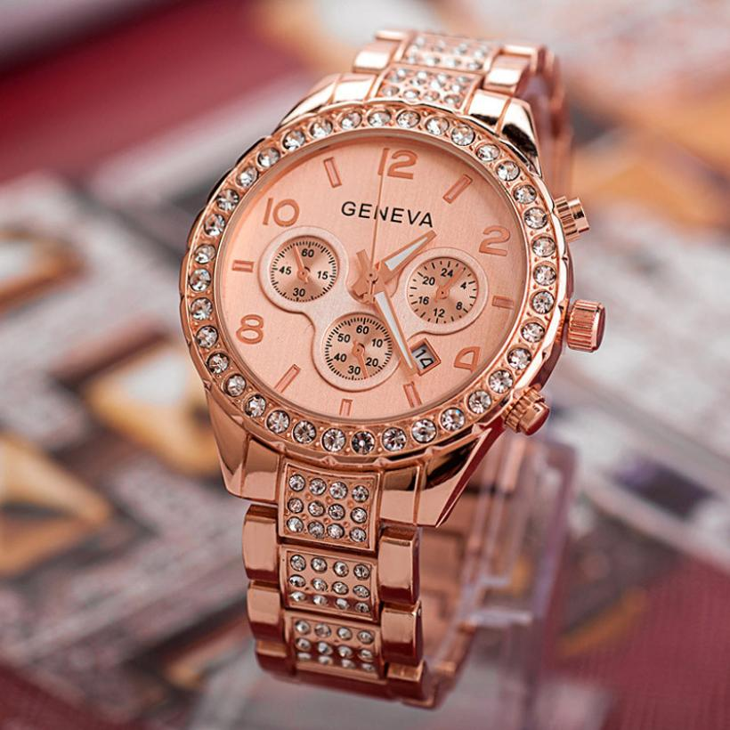 Relojes de cristal de lujo para mujer, relojes de oro rosa, relojes de mujer, reloj Geneva, reloj femenino, damas uhr damen, reloj mujer