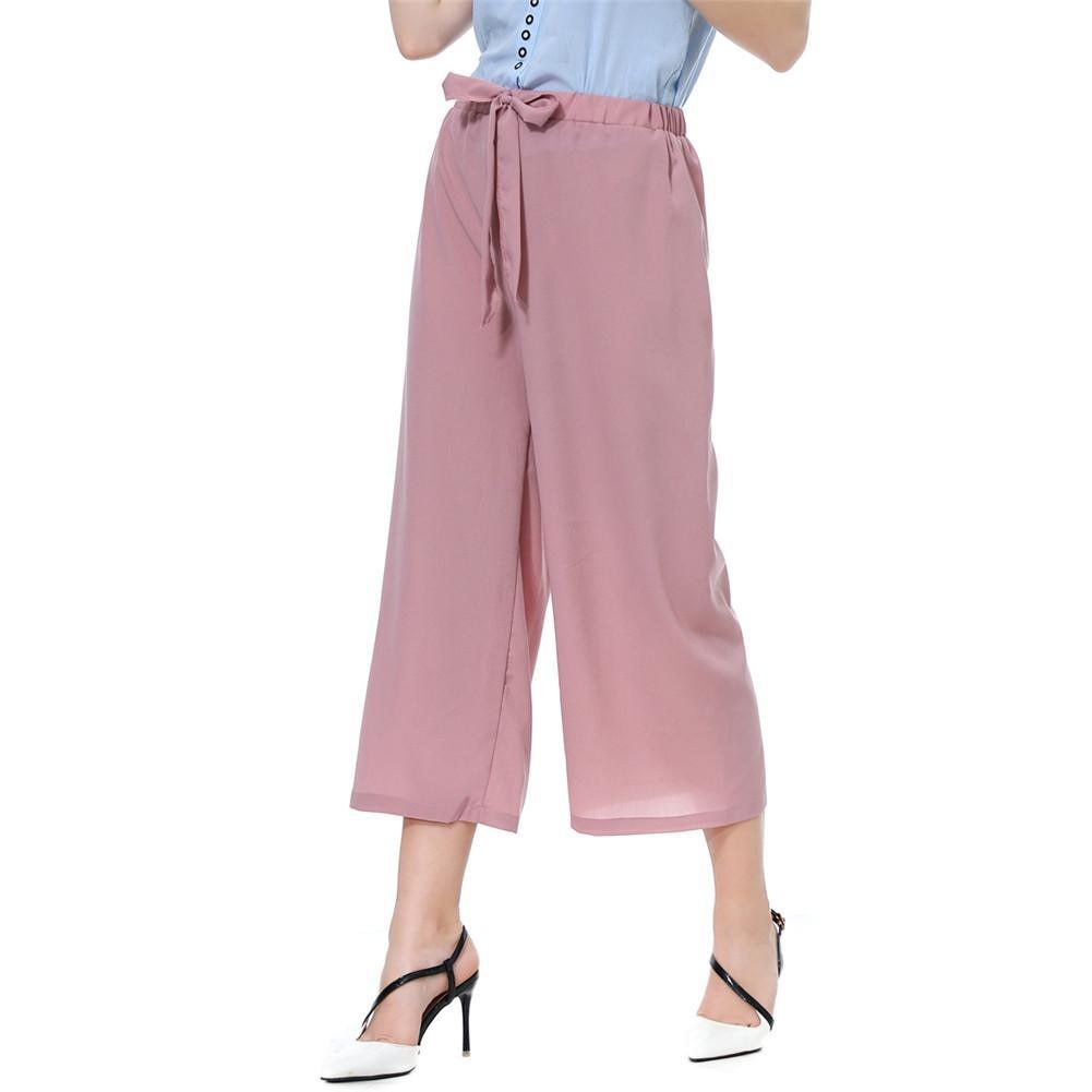 2021 Casual Loose Style Fashion Pants Women Solid Color/Striped Drawstring Wide Leg Trousers Loose Fit Elegant Office Lady Pants