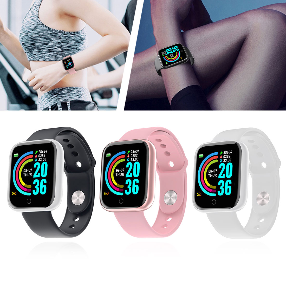Y68 Smart watcht Heart Rate Smart Bracelet Blood Pressure Sports Bluetooth Gift Electronic Product D