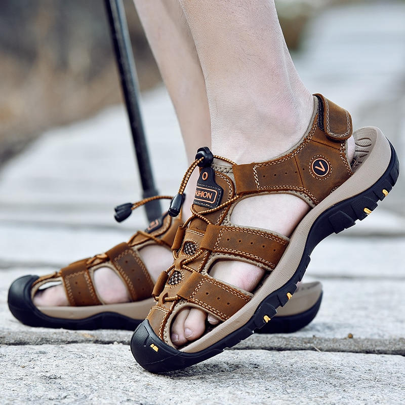 MIXIDELAI Genuine Leather Men Shoes Summer New Large Size Men's Sandals Men Sandals Fashion Sandals Slippers Big Size 38-47
