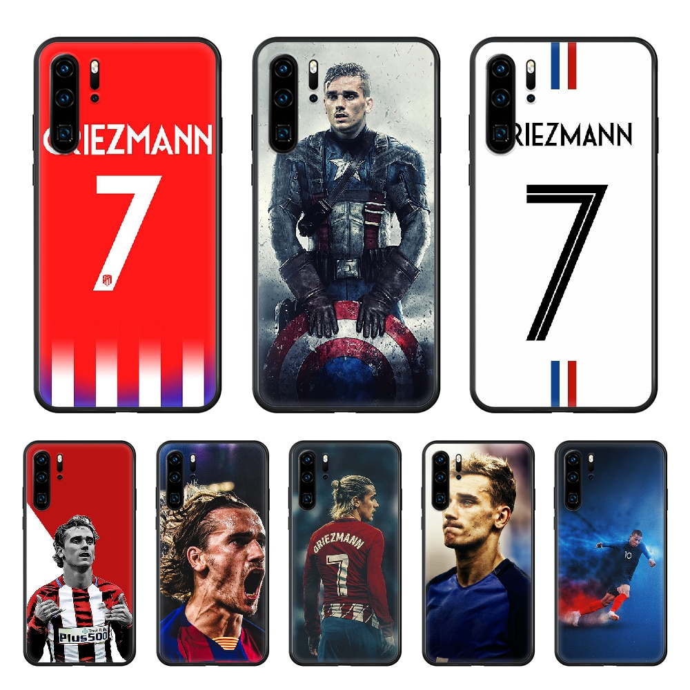 Deportes Fútbol Griezmann cubierta de la caja del teléfono para huawei p 8 9 10 20 30 40 P pro Smart 2019 Z lite mini negro carcasa trasera
