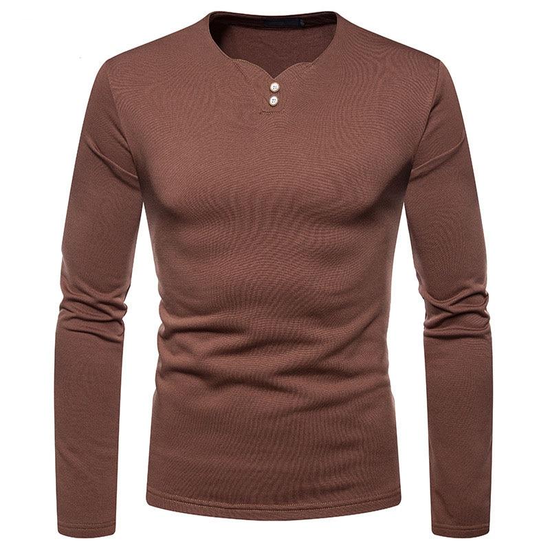 Camiseta Casual Henley de algodón de marca para hombre 2020, Otoño Invierno, nueva camiseta de manga larga, camiseta informal de trabajo de negocios para hombre xxl