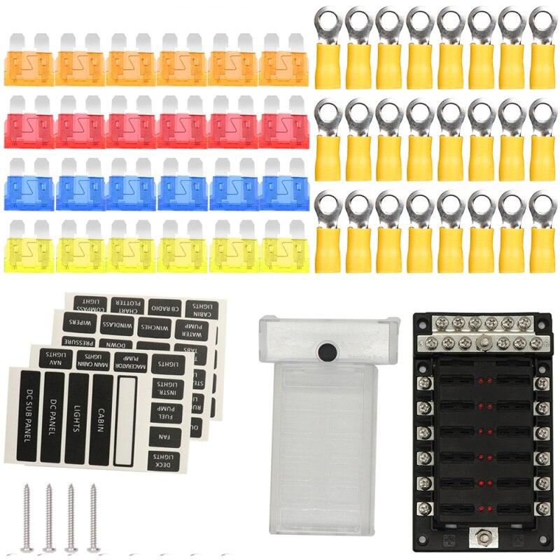 Caja de fusibles de cuchilla de 12 vías, soporte de bloque, Panel de fusibles, indicador LED, caja de fusibles automotriz de 12 voltios, soporte impermeable para coche, barco, camión