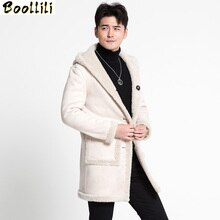 Abrigo de lana Boollili 100%, chaqueta de invierno para hombre, abrigos de pelo de oveja de doble cara, chaquetas de cuero para hombre