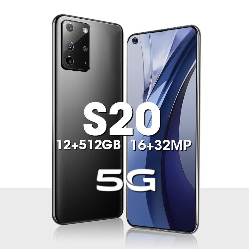 Новый смартфон S20, 12 Гб ОЗУ, 512 Гб ПЗУ, тройная тыловая камера, десятиядерный сотовый телефон, батарея 5000 мАч, стандартная 4G, мобильные телефон...