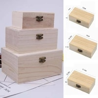 plain wood wooden square hinged storage boxes craft gift box solid wood furniture log home storage box