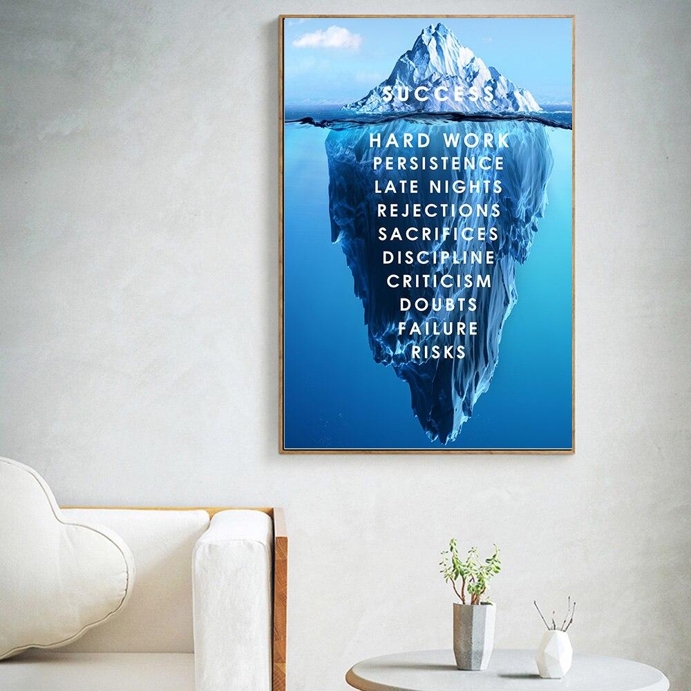 Iceberg moderno del cartel de éxito pinturas de paisaje impresas en lienzo arte de pared citas imágenes de pared nórdicas para decoración para sala de estar