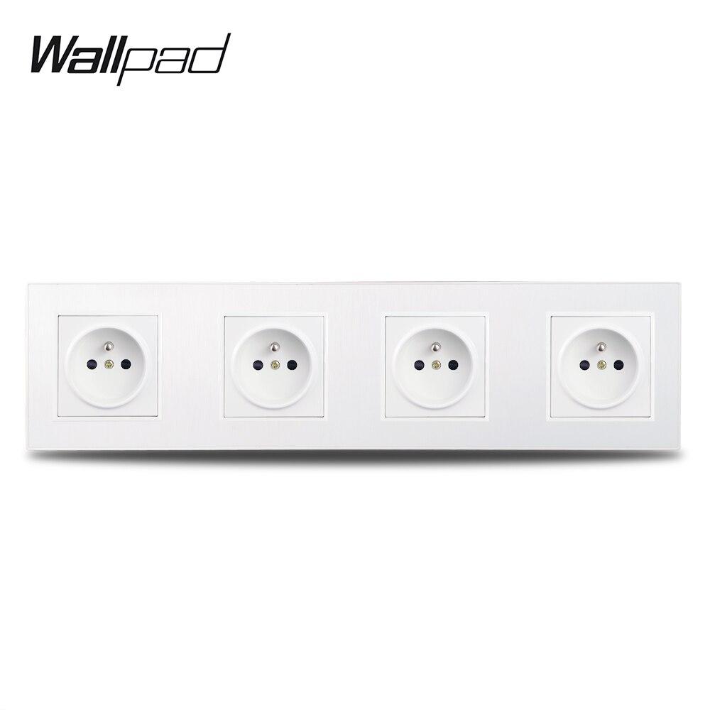 Wallpad S6 الأبيض 4 إطار الرباعي الفرنسية الطاقة مقبس الحائط الكهربائية منفذ المكونات نحى PC البلاستيك 4 طريقة لوحة
