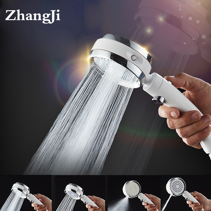 ZhangJi 4 Funciones rotación libre interruptor de cambios botón de parada ahorro de agua de alta presión silicona agujeros boquilla de pulverización ducha cabeza