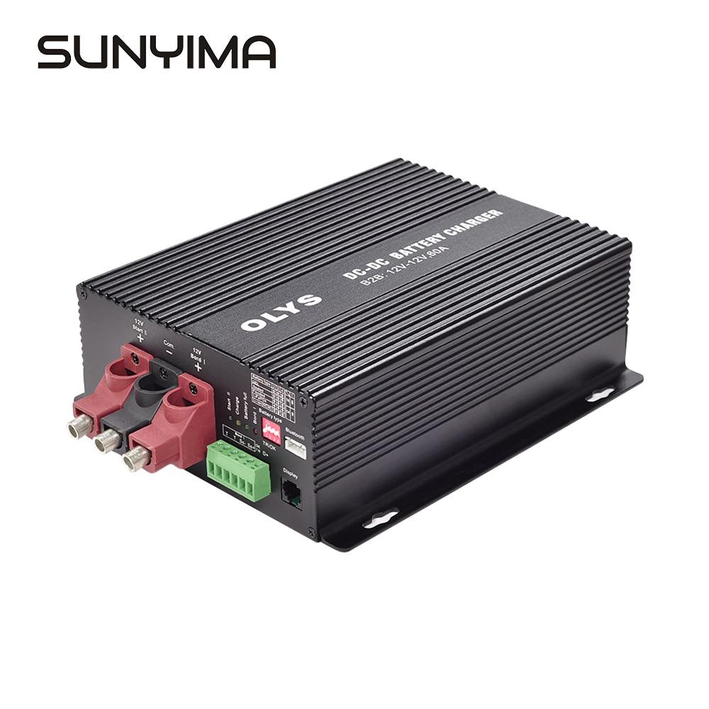 SUNYIMA 30A/60A DC-DC B2B شاحن بطارية 12 فولت RV جهاز تحكم يعمل بالطاقة الشمسية بلوتوث التطبيق المجاني و متر التلقائي الذكية B2B 1230