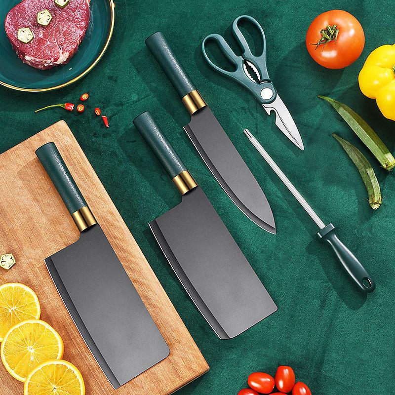 Набор из шести сверхострых немецких кухонных ножей, кухонные ножи, комбинированная кухонная утварь, полностью Черные ножи
