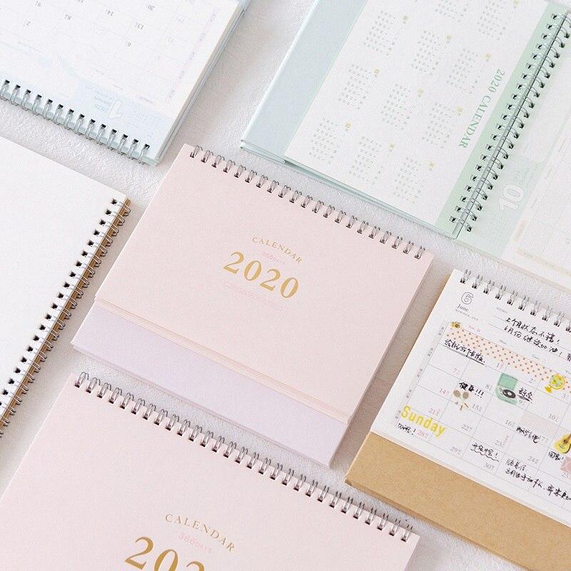 Calendario de escritorio verde rosa sencillo 2020, Bloc de notas pintado a mano DIY, calendario diario 2020,01-2020,12