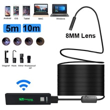 8mm 5/10M endoscope Android/IOS/PC endoscope lentille étanche 8 lumière LED endoscope caméra tuyau Wifi caméra de détection dendoscope