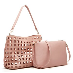 Fashion Hollow Lattice Shoulder Bag For Women 2021 Composite  Crossbody Handbags Female Leather High Quality Tote And Purses