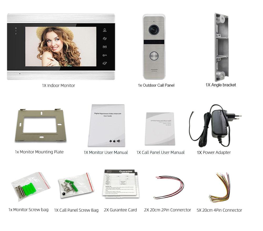 Wireless WiFi Video Intercom 7 Inch Smart Video Door Phone System with 720P Wired Doorbell Camera,Support Remote Unlock enlarge