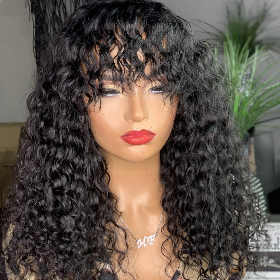 Jerry Curly Full Machine Made Wigs With Bangs Human Hair Wigs For Women Natural Color 12-30Inch 180D