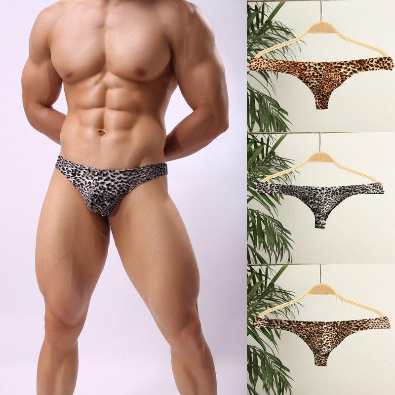 Men's Underwear Erotic Sex Bikini Thongs Brief Leopard Print Bulge Pouch G-string Underpants Men's Panties Briefs Exotic Apparel