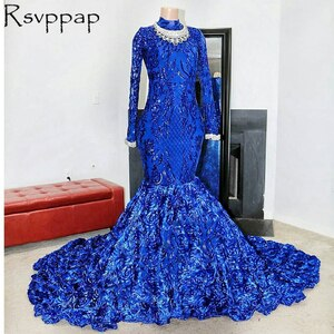 Royal Blue Mermaid Long African Black Girl Prom Dresses 2021 Sparkly Sequin Top 3D Flowers High Neck With Long Sleeve Prom Dress