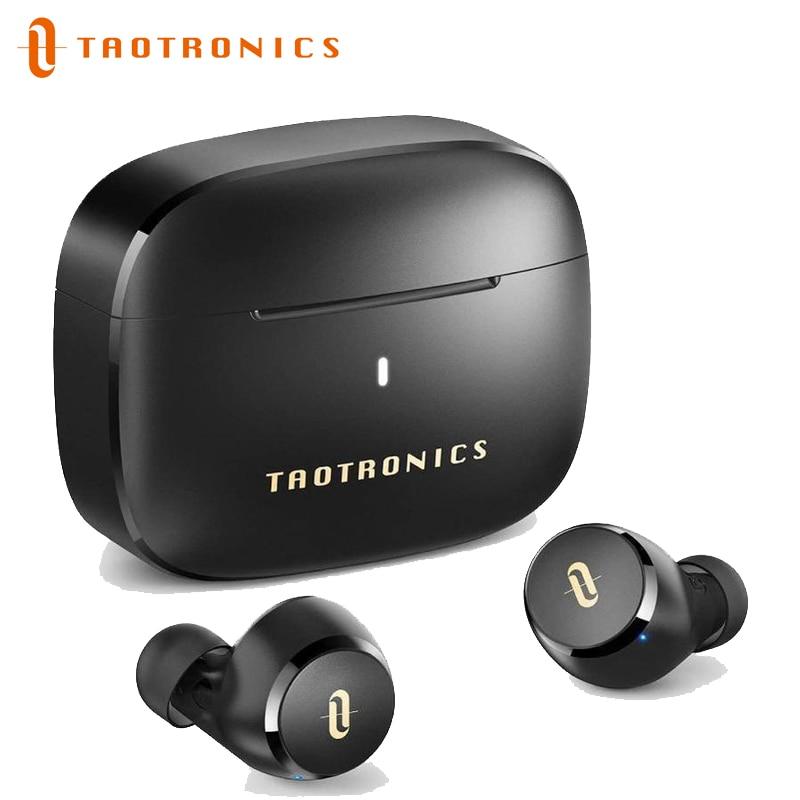TaoTronics SoundLiberty 97 Bluetooth Earbuds TWS Wireless Earbuds مع ميكروفون ذكي لإلغاء الضوضاء ، سماعات تدعم كود الصوت Aptx ، IPX7 مقاوم للماء ، 40Hr Playtime
