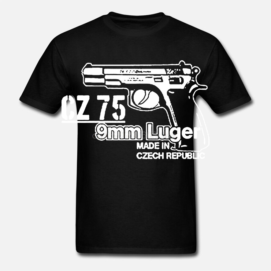 Gran oferta de moda CZ 75 9mm Luger pistola arma francotirador checo handgun automático militar camiseta de pistola camisa