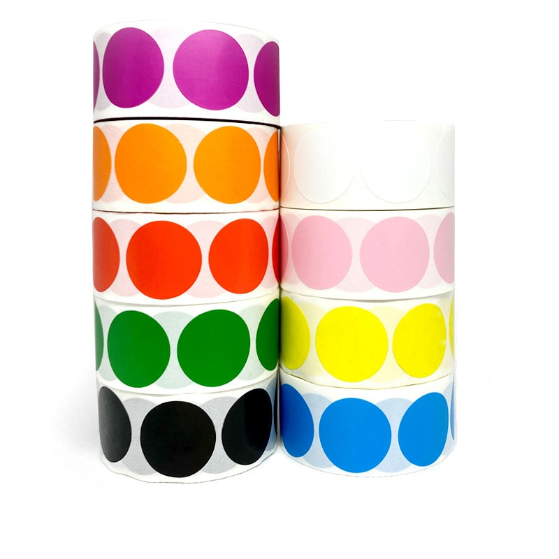 500pcs/Roll ChromaLabel 1 Inch Round Permanent Color-Code Dot Stickers Yellow Green Black Red Pink Stationery Sticker