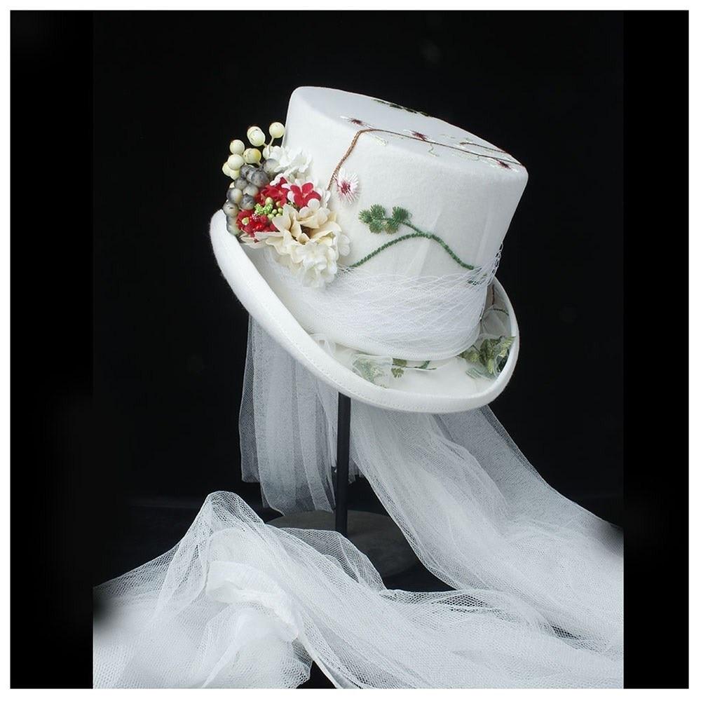 100% Wool Women Wedding Top Hat White Steampunk Hat Ivory Hat Lady Rhinestone Gala Hat Flower Top Hat Tea Party Hat 4Size