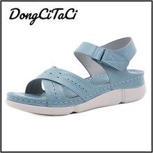 DongCiTaCi Southeast Asia Summer Casual Women Wedges Sandals Shoes Women Fashion Open Toe Beach Flat