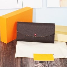 60136AAA Luxury Women's Long Wallet Credit Card Big Banknote Pack Printed Buckle Closure with Box an