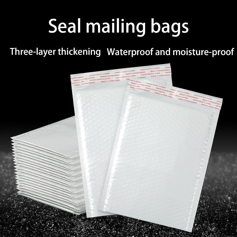 10pcs Bubble Envelope bag white Bubble PolyMailer Self Seal mailing bags Padded Envelopes For Magazine Lined Mailer